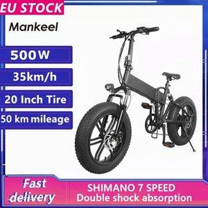 EU-Lagermankeel 500W 10AH 20-Zoll-Fettreifen Falten Elektrische Mountainbike-Fahrrad 7 Geschwindigkeit Booster Bike Smart 2 Räder Ebike MK011
