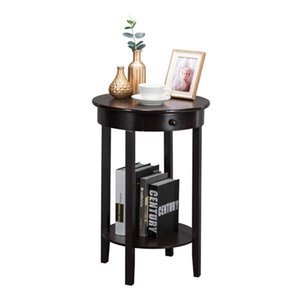 Small Round Side Table,Dark Espresso Wood Occasional Table
