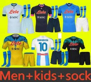 성인과 아이들 2020 2021 Napoli 축구 유니폼 홈 2020 나폴리 Zielinski Maradona insigne Mertens Callejon 선수 RPG 축구 셔츠