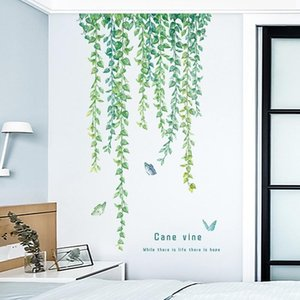 Green Vine Wall Sticker Modern Home Decoration Living Room Art Top Angle Line Decor Mural Bedroom Decals For Furniture Stickers