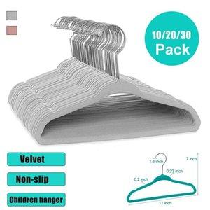 10 20 30 Pack Flocking Hanger Non-slip Plastic Velvet Coat Flocked Custom Seamless Drying Rack Est QW Hangers & Racks