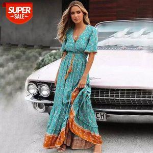 Blus Floral Maxi Dress Bottone a V bottone con scollo a V in pizzo Trim 2021 Primavera Estate nappa Tied Vita Lunga Donne Abiti # WF7Q