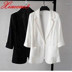 Three Qurater Summer Short Blazer Women Cotton Linen Ice Silk Femme Blazers for Women Solid Jackets Black White Suit Viersized1