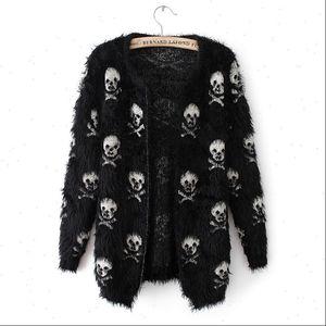 Short Womens Sweater Women Autumn Mohair Skulls Printing Female Outwear Cardigans Knitted Drop