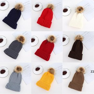 Winter Brand Female Fur Pom hat For Women Girl 's Hats Knitted Beanies Cap Thick Beanie HWA8843