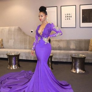 Africa Light Purple Prom Dresses 2021 Sexy Deep V-neck Beaded Lace Top Long Sleeve Mermaid Black Girl Party Dress Evening Gowns