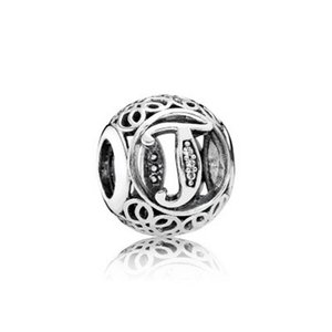 925 Ayar Gümüş Avrupa Charms Vintage A-Z Mektup Charm Fit Pandora Tarzı Bilezikler DIY Gevşek Charm 54 J2