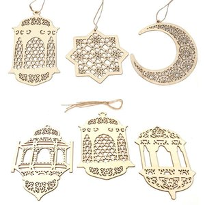 2021 Ramadan Wooden Decor Eid Mubarak Muslim Ramadan Moon Star Plate Hollow Pendant Islamic Festival Event Party Favor