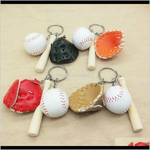 Event Festive Supplies Home Garden Drop Delivery 2021 Softball Keychain Ball Ring Baseball Gloves Wooden Bat Pendant Charm Key Chain Bag Pend