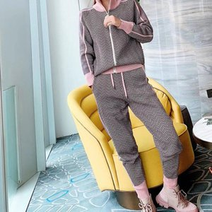 Good Quality 2 Pieces Set Women Clothing Tracksuits Sporty Girl Zipper Up Sweater+knitted Pants Slim Fit Women's Two Piece