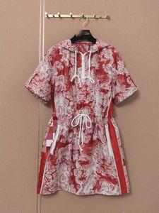 2021 Hooded Short Sleeve Print Panelled Fashion Milan Runway Dress Designer Dress Brand Same Style Dress 0606-1