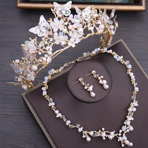 Crystal Beads Pearl Butterfly Costume Jewelry Sets Floral Rhinestone Choker Necklace Earrings Tiara Luxury Wedding Set &