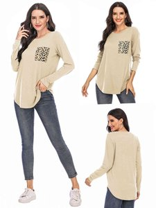 New style long sleeve leopard women shirts leopard patchwork lady loose casual shirts fashion O-neck solid color tunic sweatshirt