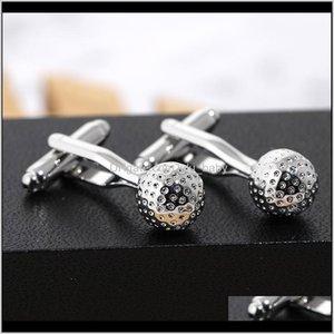 Cuff Links Tie Clasps Tacks Jewelry Drop Delivery 2021 Wedding Creat Gor Mens Golf Ball Round Glass Hand Made Cufflinks Men Highgrade Copper