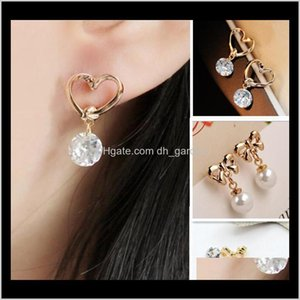 Drop Delivery 2021 Gold Plated Love Heart Bowknot Stud Earring Pearl Crystal Cubic Zirconia Bride Women Wedding Earrings Jewelry Ejxaw