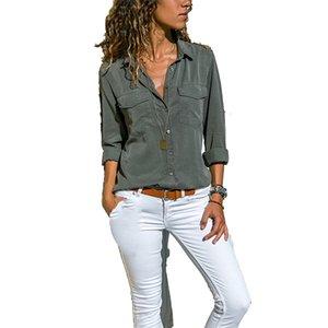 Women Blouses Button 5xl Solid Color New Long-sleeve Shirt Female Chiffon blouse Women's Slim Clothing blusas feminina