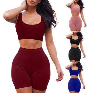 الصلبة أكمام قصيرة قمم قصيرة السراويل قصيرة تجريب الرياضية مطابقة مجموعة النساء أزياء عارضة اثنين من قطعة ملابس # G3
