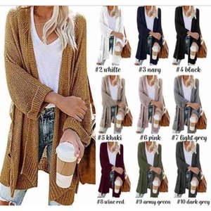 Women Winter Cardigan Fashion Cashmere Solid Knit Sweater Long Sleeve Knitted Cardigans Open Front Big Pockets Plain Outwear Coat LSK1312