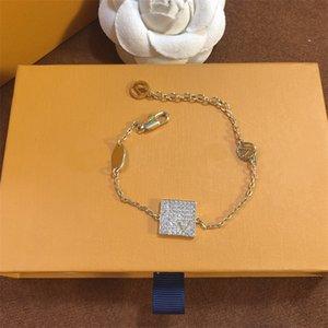 Donne uomini Diamond Lettera classica Braccialetti con scatola squisita fascino regalo gioielli partito festa hip hop catena alla moda braccialetto unisex