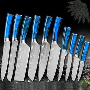 الفولاذ المقاوم للصدأ الشيف سكين الطبخ مطرقة بليد الثقيلة 1-10 قطع اليابانية الراتنج جيتف واجب الصين الساطور القاطع تشريح المروحية سكاكين المطبخ