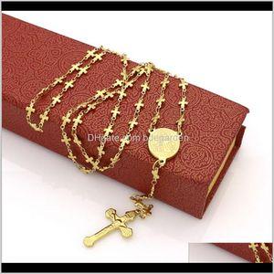 Necklaces Retro Classic Jesus Cross Titanium Steel Pendant Fashion Virgin Mary Tag Necklace Na2Ke Otzgu