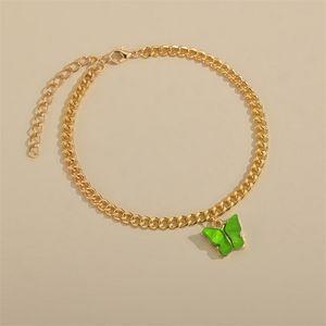 Butterfly Charm Anklet Chain Summer Beach Gold Tobillo Cadena Pulsera Pulsera Joyería de moda Will y regalo arenoso 517 T2