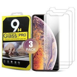 3 Pack One Box Screen Protector для iPhone 13 12 11 XS Pro Max 7 8 Plus Закаленное стекло Протекторенная пленка Четкие защитные пленки с розничными ящиками