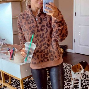 Zip-up Turtleneck Vintage Leopard Sweatshirt Women Warm Fleece Loose Casual Office Lady Pullovers 2020 Winter Fashion Plus Size