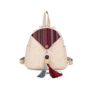 Backpack Multifunction Straw Bag Mini Women Travel Boho Rucksack Vintage Rugtas Mochila De Moda Rugzak Vrouwen Designer Bags