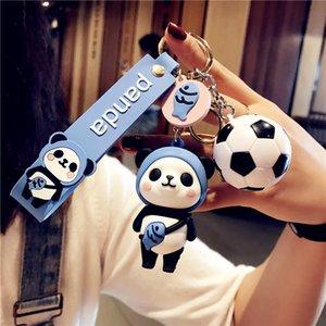 Panda Futbol Esnek Tutkal Bebek PVC Anahtar Kolye Süper Yangın Ayı Anahtarlık Schoolbag Süsler Hediye Küçük Süsler