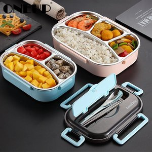 Portable 304 Stainless Steel Lunch Box Japanese Style Compartment Bento Box Kitchen Leakproof Food Container Microwavable