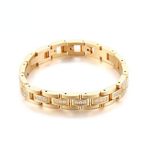 Link, Chain Fashion Men Stainless Steel Bracelet Plated Gold Titanium Bracelets