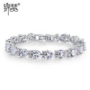 Pulseira pulseira jinse cristal amor aaa zircão moda decoração decoração casamento casamento tanabata menina