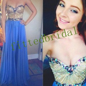 Princess A-line Strapless Sweetheart Prom Dress Crystal beading Sequins Cocktail Party Dress Chiffon Bridal Dress