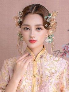 NiuShuya Tranditonal Chinese Wedding Hair Accessories Est Bride Handmade Flower Combs Hairpins Sticks Accessor Clips & Barrettes