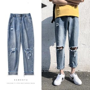 Mens Summer Holes Casual Pants Male Loose High-quality Light Blue Color Jeans Fashion Trend Trousers Plus Size S-2XL_yw