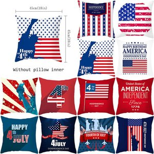 American Independence Day Pillowcase Plush Digital Printing Pillow Cover Home Decoration Car Pillow Cover 45*45cm GWF6319