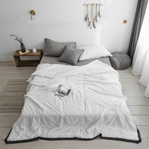 Summer Quilt Solid Color Grey White Blanket Quilted Bedspread For Double Queen Bed Air Condition Thin Duvet Coverlet Cover Comforters & Sets