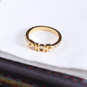 Fashion designer gold letter band rings bague for lady women Party wedding lovers gift engagement jewelry With BOX