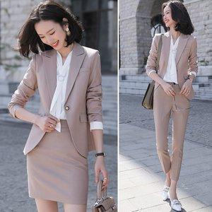 2021 Black Apricot Female Elegant Women's Suit Set Blazer Trouser Pant Business Uniform Clothing Women Lady Tops and Blouses