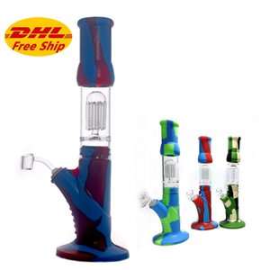 Silicone Bong Dab Rig 8 arm tree perc filter 14.5inch bubbler water pipe Unbreakable honeycomb water bongs with Club quartz banger nail