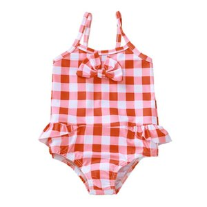 Summer Toddler Baby Girls Ruffle Plaid Print Swimsuit Jumpsuit Swimwear Bathing Suit Siamese Bodysuit Beachwear#40 One-Pieces