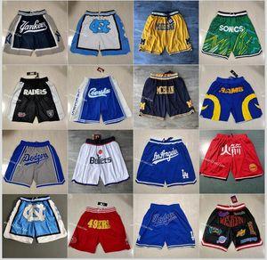 Men's Sport Sportwear Just Don Shorts Basketball Breathable Gym Training Casual Pants with Zipper Pocket camisetas de balonces Stitched Baseball New York Blue Short