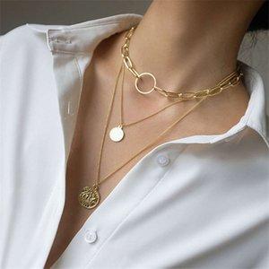 Metal texture multilayer sweater chain creative hard pendant multi necklace jewelry