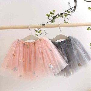 Summer Casual 2 3 4 6 8 9 10 Years Kids Clothing School Dance Embroidery Floral Glitter Lace Tutu Skirt For Baby Girls 210414