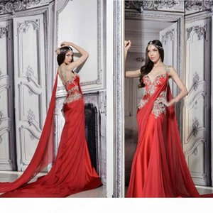 Gorgeous Indian Dresses Long Formal Red Evening Gowns Sheer Straps Court Train Ruched Chiffon Lace Appliques Prom Dress with Ribbon