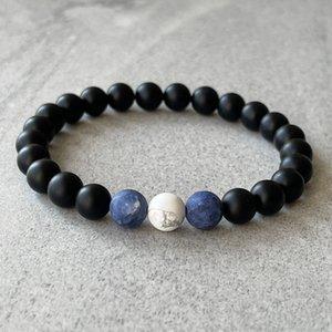 Matte Black Onyx Blue Sodalite и белый Behlite бирюзовый бирюзовый браслет с бисером 8 мм 10 мм растягивающие драгоценные камни браслеты