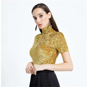 Women Fashion High Neck Gold Velvet T-shirts Slim Short Sleeve Tops Ladies Basic T-shirt Casual Summer Fashion Slim Fitting Clothing
