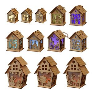 Christmas Decorations Luminous Cabin DIY Snowman Wooden House Christmas Tree Ornaments Children's Gifts w-00912