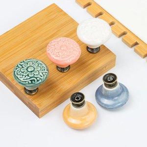 Handles & Pulls 1Pcs Embossed Colored Single Hole Ceramic Handle Pastoral Antique Cabinet Wardrobe Door Drawer Round